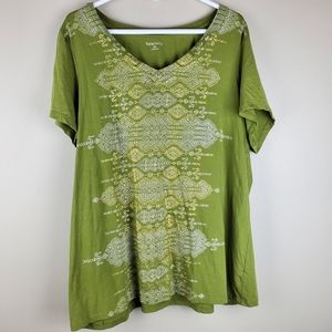 Relativity Olive Green Short Sleeve Top - Size 2X